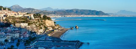 Sorrento Coast panorama, Italy. SORRENTO, ITALY - JANUARY 12, 2015: evening town coast panorama view with sea bay royalty free stock photo