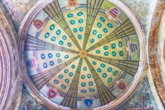 Decorated ceiling of an ancient building in Sorrento, Italy royalty free stock photos