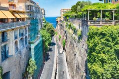 Scenic aerial view of Sorrento, Italy. SORRENTO, ITALY - JULY 16: Scenic aerial view from Piazza Tasso, central square in Sorrento, Italy, on July 16, 2017 Royalty Free Stock Photos
