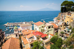 Sorrento, Italy. July 15: View of the town of Sorrento.View of Marina Grande, Sorrento. Sorrento is one of the towns of the Amalfi Coast,expensive and most Royalty Free Stock Photography