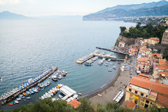Sorrento, Italy. July 15: View of the town of Sorrento.View of Marina Grande, Sorrento. Sorrento is one of the towns of the Amalfi Coast,expensive and most Royalty Free Stock Image