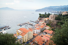 Sorrento, Italy. July 15: View of the town of Sorrento.View of Marina Grande, Sorrento. Sorrento is one of the towns of the Amalfi Coast,expensive and most Stock Images