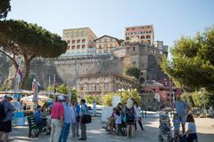 Tourists waiting for a boat ride from Sorrento to Capri. Campania. Italy. Sorrento, Italy - June 13, 2017: Tourists waiting for a boat ride from Sorrento to royalty free stock photography