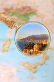 Sorrento Italy. Magnifying glass looking in on Sorrento, Italy at sunset Stock Image