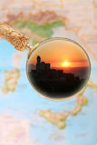 Sorrento Italy. Magnifying glass looking in on Sorrento, Italy at sunset Stock Photos