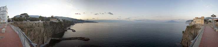 Sorrento (Italy) panorama shot. Panoramic view of Sorrento and Naples (Italy) from Terrazza la Marinella Royalty Free Stock Photography