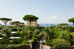 Sorrento, Italy - scenic view of a green park near sea. Sorrento, mediterranean Italy - scenic view of a green park near sea Royalty Free Stock Photo