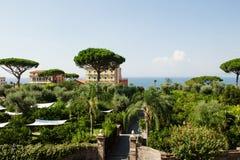 Sorrento, Italy - scenic view of a green park near sea Royalty Free Stock Photo