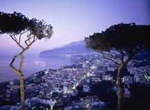 SORRENTO,ITALY. View over Bay of Naples at night Sorrento , Campania Italy stock photo