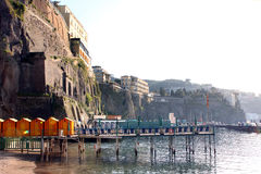 Sorrento Italy. View of Sorrento with the Palace Hotel on the cliff in the Sorrentine Peninsula in the bay of Naples in South Italy stock images