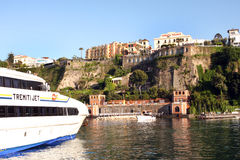 Sorrento Italy. View of Sorrento with the Palace Hotel on the cliff in the Sorrentine Peninsula in the bay of Naples in South Italy stock photography