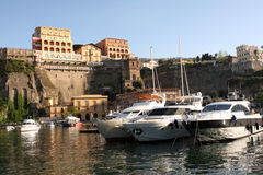 Sorrento Italy. View of Sorrento with the Palace Hotel on the cliff in the Sorrentine Peninsula in the bay of Naples in South Italy royalty free stock photography