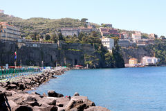Sorrento Italy. View of Sorrento with the Palace Hotel on the cliff in the Sorrentine Peninsula in the bay of Naples in South Italy royalty free stock photos