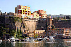 Sorrento Italy. View of Sorrento with the Palace Hotel on the cliff in the Sorrentine Peninsula in the bay of Naples in South Italy stock image