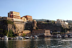 Sorrento Italy. View of Sorrento with the Palace Hotel on the cliff in the Sorrentine Peninsula in the bay of Naples in South Italy stock photos