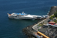 Sorrento jetty. The harbour of sorrento in italy with his jetty royalty free stock photo