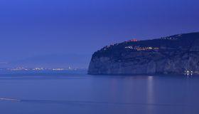 Sorrento late evening, Italy. Late evening, almost darkness image of Sorrento, Italy, looking across the Bay of Naples royalty free stock photo