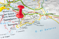 Sorrento On The Map. Sorrento indicated on the map as a geographical concept of tourism Royalty Free Stock Photography