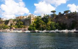 Sorrento Marine, Naples,Italy. View of the cliffs of Sorrento, Italy from the harbor Stock Image