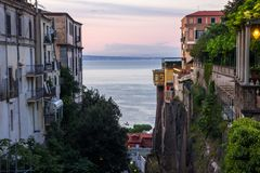 Sorrento near Naples in Italy. Sunset in Sorrento on Sorrento Peninsula in Italy Stock Photo