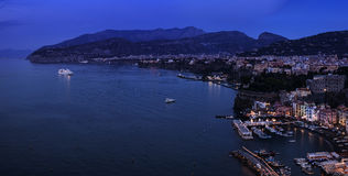 Sorrento night pan. Sorrento night view with cruise ship anchored in bay Stock Photography
