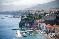 Sorrento panoramic view of the coast and Marina grande, Campania, Italy. Europe royalty free stock images