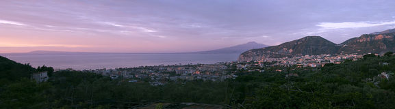 Sorrento with panoramic view of Vesuvius. 16:9 wide royalty free stock image