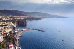 The Sorrento Peninsula, Italy. Sunset over the Penisola Sorrentina. Panoramic view of the picturesque Sorrento peninsula Gulf of Naples, Campania, Italy Stock Image