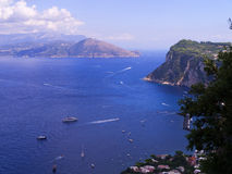 The Sorrento Peninsular from Capri. A view of the land around Sorrento from the island of Capri Italy Stock Photo
