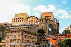 Sorrento port, Italy. Sorrento view of buildings in front of the port in a cliff Royalty Free Stock Photography