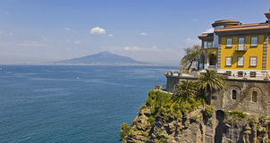 Sorrento's coastline. And the vesuvius on the background Royalty Free Stock Photo
