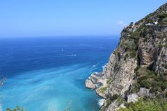 Sorrento sea view, italy. Panorama view of the blue sea of Sorrento, in summer, Italy royalty free stock photos