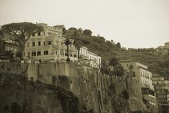 Sorrento in Sepia. The city of Sorrento Italy as seen by the sea, in Sepia Stock Photos