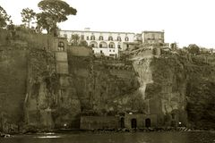Sorrento in Sepia. The city of Sorrento Italy as seen by the sea, in Sepia Stock Image