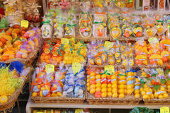 Sorrento Shop. SORRENTO, ITALY - JUNE 26, 2015: A colorful display outside a store in Sorrento,  selling different citrus soaps and souvenirs made from lemons Royalty Free Stock Images