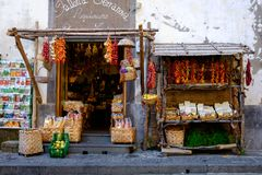 A Sorrento shop. A shop in Sorrento, Italy, selling local produce, from lemons, peppers. seeds etc. This shop also produced their own Limoncello Stock Images