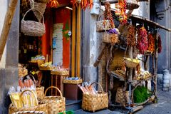 A Sorrento Shop. An old shop on the streets of Sorrento, Italy, selling local produce, from lemons, peppers. seeds etc royalty free stock photos