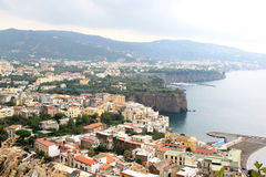 Sorrento along the Tyrrhenian coast in Italy. Sorrento is a small town in Campania in the south of Italy. The town overlooks the Bay of Naples as the key place royalty free stock photo
