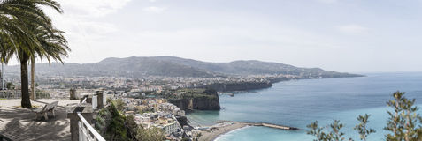 Sorrento and the Sorrento coast. Panoramic view of Sorrento and the Sorrento coast stock photo