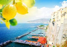 Sorrento, southern Italy. Embankment and beach of Sorrento with lemons, southern Italy Stock Photos