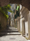 Sorrento street. Ancient street in Sorrento with steps leading to the top of a hill Royalty Free Stock Photo