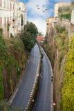 Sorrento street, Italy. Cobblestoned road in Sorrento Italy Stock Photo
