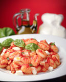 Sorrento style gnocchi. Traditional italian gnocchi with fresh basil leaves Stock Photography