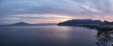 Sorrento sunrise. Panorama of sunrise above Sorrento and Mount Vesuvius, Naples, Italy stock photos