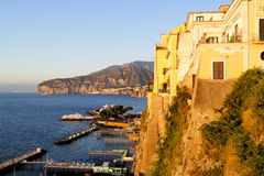 Sorrento sunset. Coastal view of the resort city of Sorrento, Italy as the sun sets Royalty Free Stock Photography