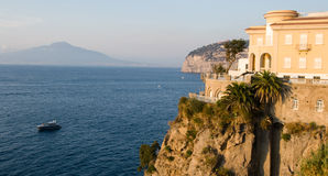 Sorrento. Sunset across cliffs of Sorrento, Italy with Vesuvius on the skyline royalty free stock image