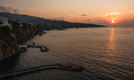 Sorrento sunset. Sun sets over the bay in Sorrento, Campania, Italy Royalty Free Stock Image