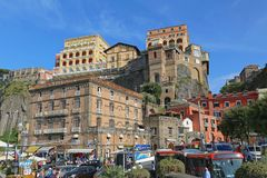 Sorrento Town Italy. SORRENTO, ITALY - JUNE 26, 2014: Small Town Sorrento at Cliff View From Port, Italy Royalty Free Stock Image