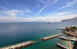 Sorrento and Vesuvius, Italy. View toward Mount Vesuvius, looking over the Marina Piccola, Sorrento, Italy Stock Image