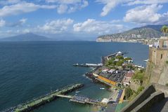 Sorrento, Vesuvius, Naples Bay. View of Sorrento, Mount Vesuvius and Naples Bay Royalty Free Stock Image